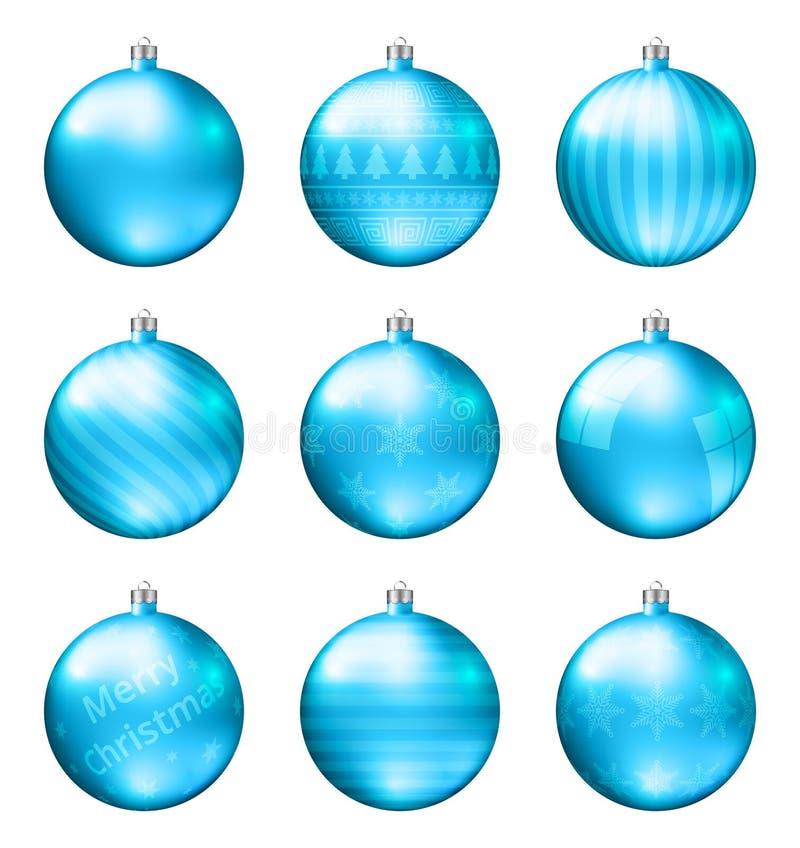 在白色背景隔绝的浅兰的圣诞节球 照片拟真的优质传染媒介套圣诞节中看不中用的物品 向量例证