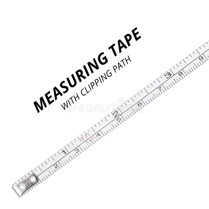 在白色背景隔绝的测量的磁带 r 免版税库存照片