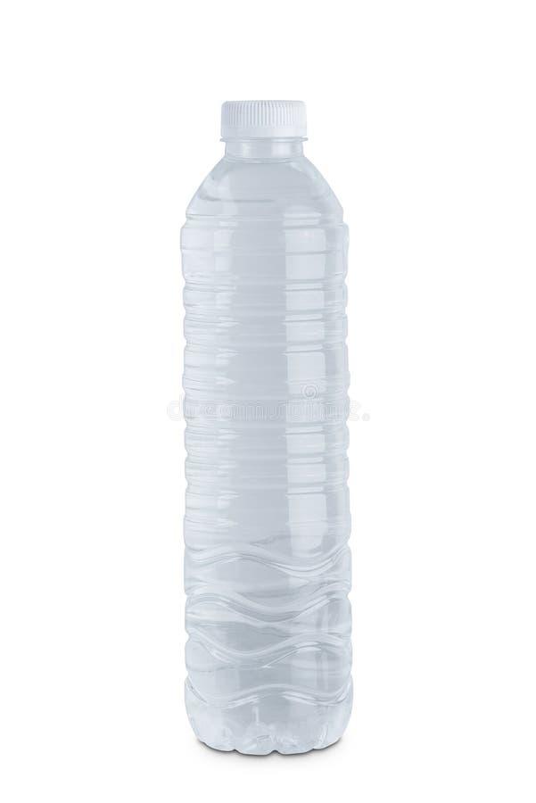 在白色背景隔绝的清楚的塑料水瓶 免版税库存图片