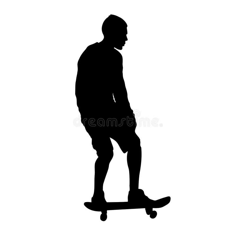 在白色背景隔绝的溜冰板者黑剪影 向量例证