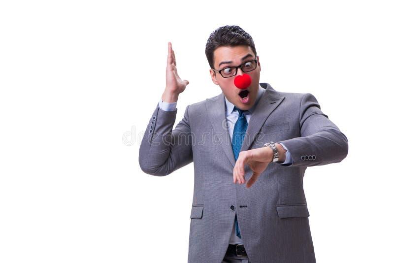 在白色背景隔绝的滑稽的小丑商人 免版税库存照片