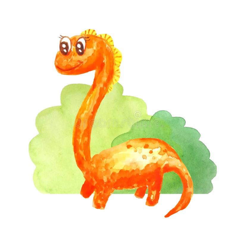 在白色背景隔绝的灌木附近的橙色长的脖子恐龙 库存例证