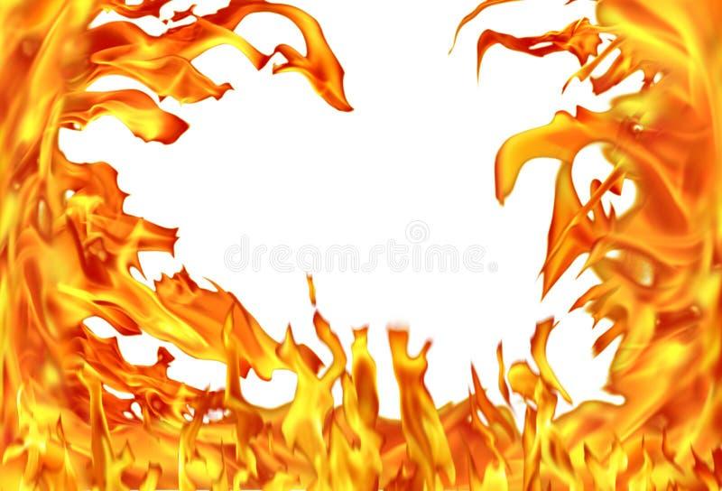 在白色背景隔绝的火火焰 库存图片