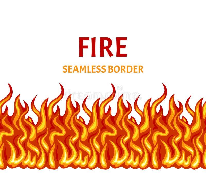 在白色背景隔绝的火 传染媒介火焰无缝的边界 皇族释放例证