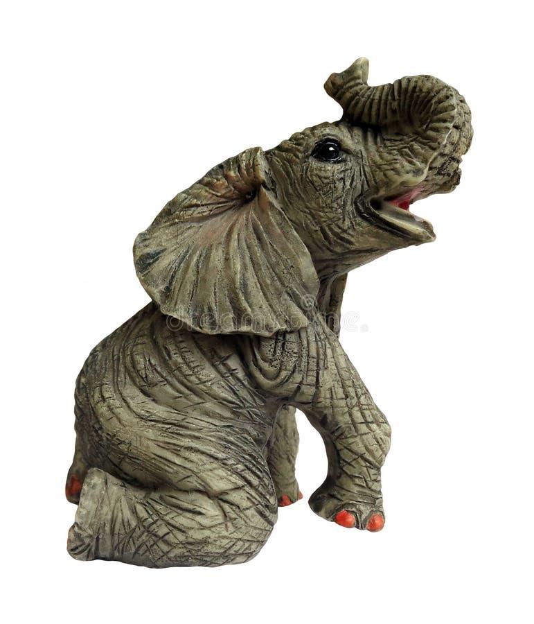 在白色背景隔绝的灰色大象玩具 免版税库存图片