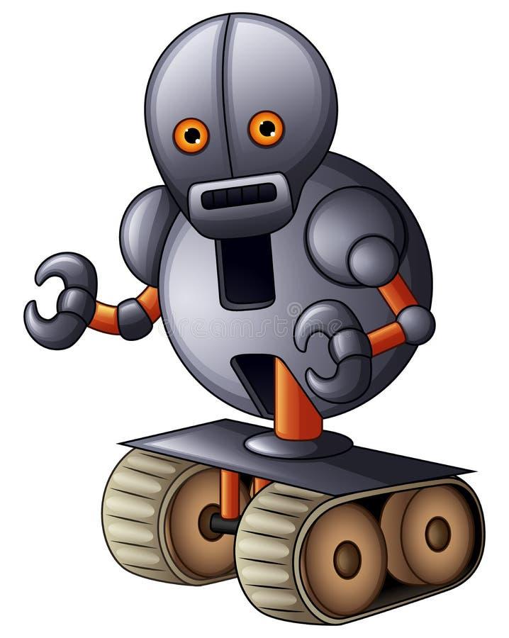 在白色背景隔绝的灰色机器人动画片 向量例证