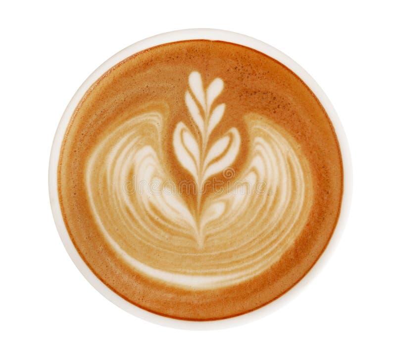 在白色背景隔绝的热的咖啡热奶咖啡拿铁艺术顶视图,道路 免版税库存图片