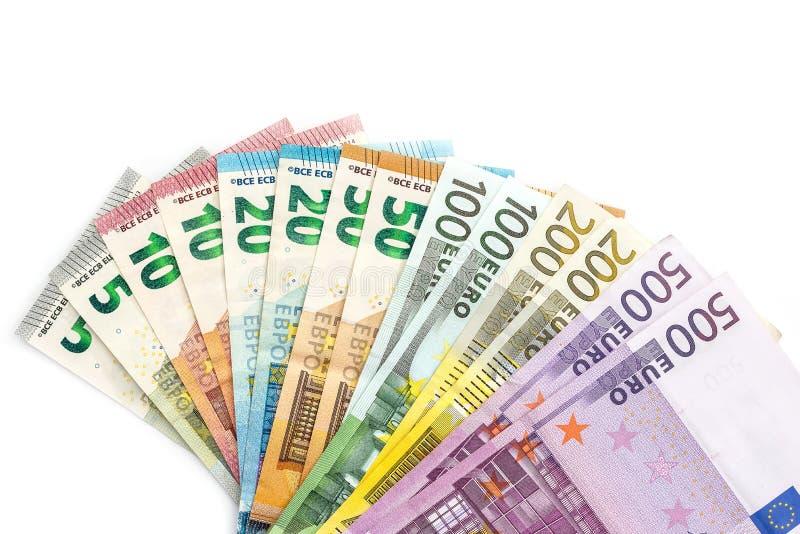 在白色背景隔绝的爱好者的欧元钞票 库存照片