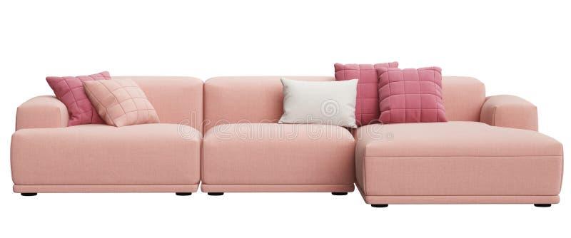 在白色背景隔绝的现代斯堪的纳维亚设计沙发 皇族释放例证