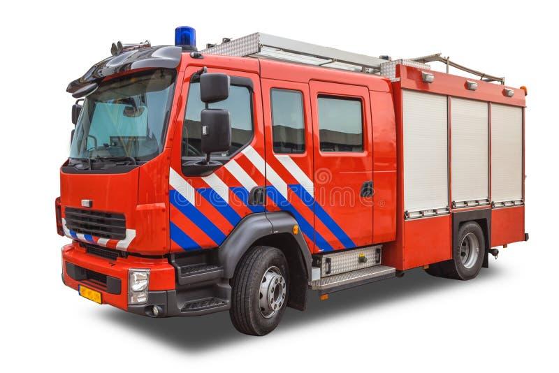 在白色背景隔绝的现代消防车 免版税库存照片