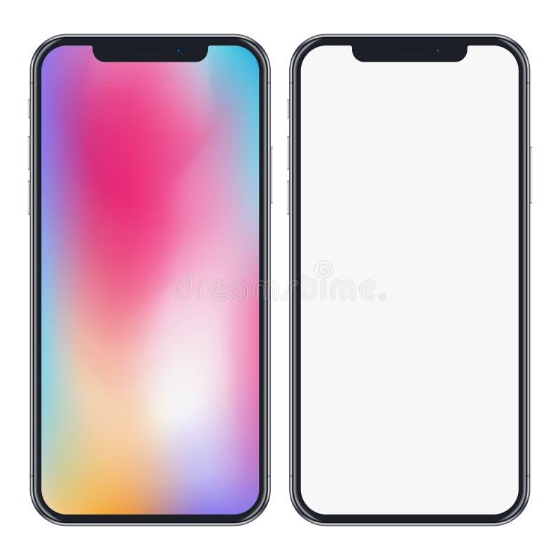 在白色背景隔绝的现代电话大模型 高详细的现实智能手机和五颜六色的屏幕 10 eps 皇族释放例证