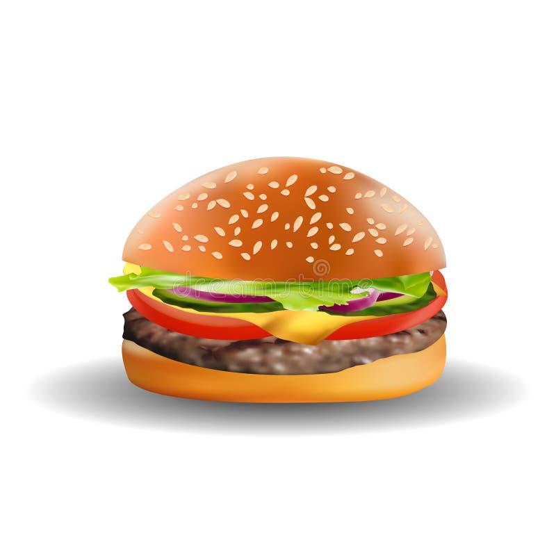 在白色背景隔绝的现实可口3D汉堡 快餐传染媒介例证 库存例证
