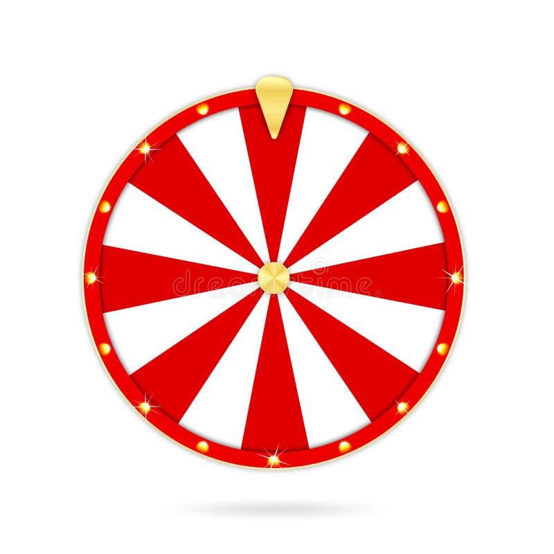 在白色背景隔绝的现实抓阄转轮 赌博的轮盘赌和时运轮子概念 向量例证