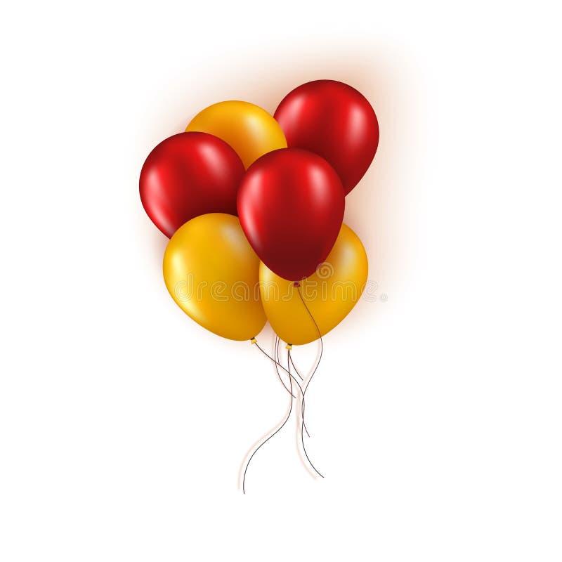 在白色背景隔绝的现实束红色和黄色气球 传染媒介贺卡元素为生日或 皇族释放例证