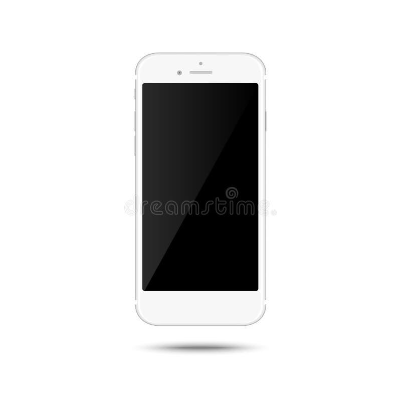 在白色背景隔绝的现实白色智能手机 背景空白查出的笔记本纸张螺旋白色 也corel凹道例证向量 向量例证