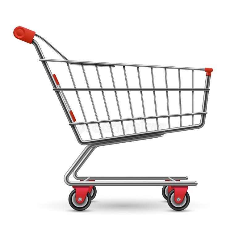 在白色背景隔绝的现实空的超级市场购物车传染媒介例证 皇族释放例证