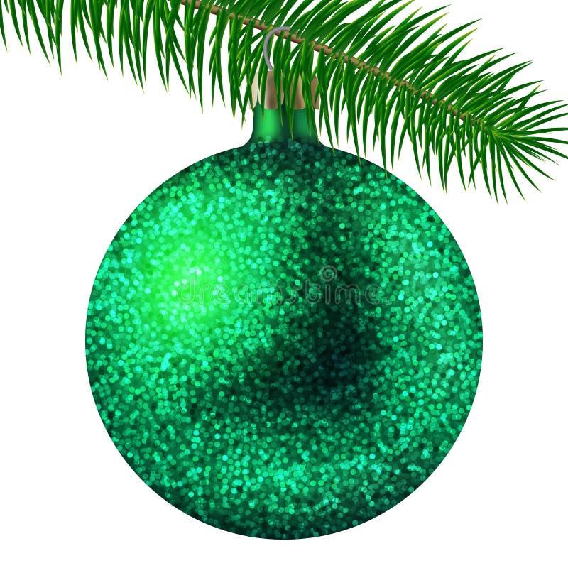 在白色背景隔绝的现实绿色圣诞节球或中看不中用的物品与闪烁闪闪发光和冷杉分支 也corel凹道例证向量 库存例证