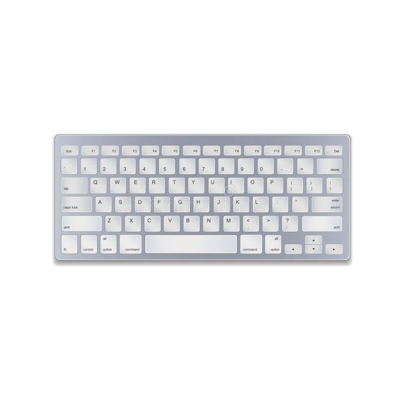 在白色背景隔绝的现实铝键盘 也corel凹道例证向量 EPS10 库存例证