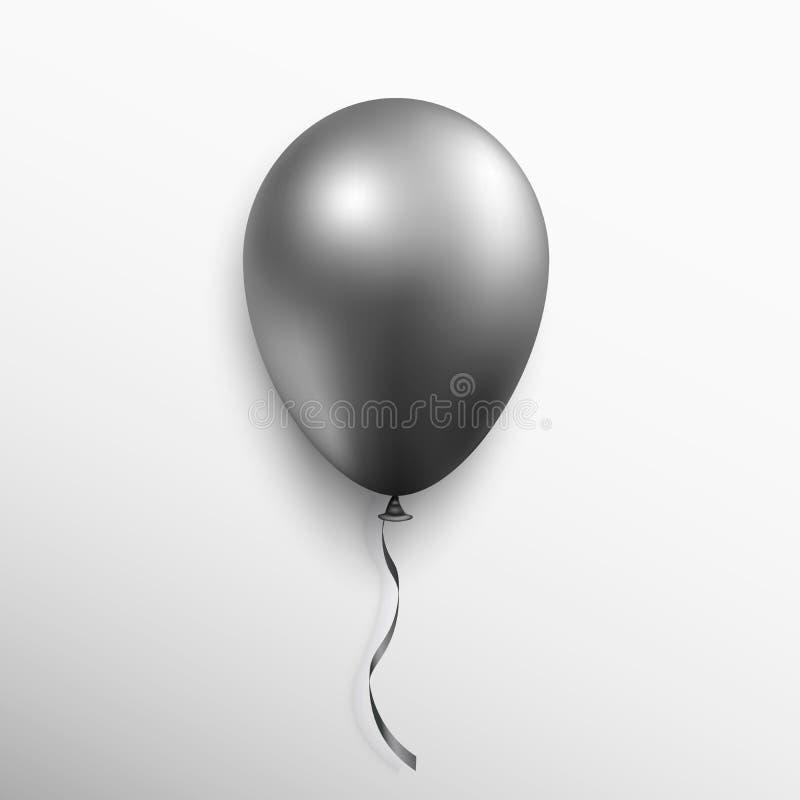 在白色背景隔绝的现实黑气球 图形设计的传染媒介例证 库存例证