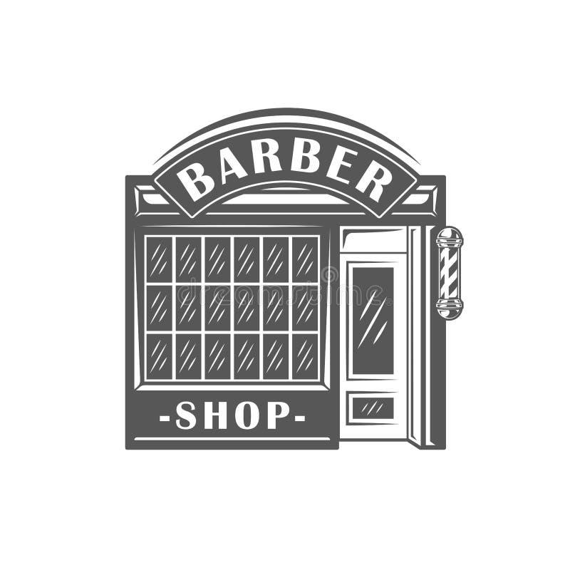在白色背景隔绝的理发店标签 向量例证