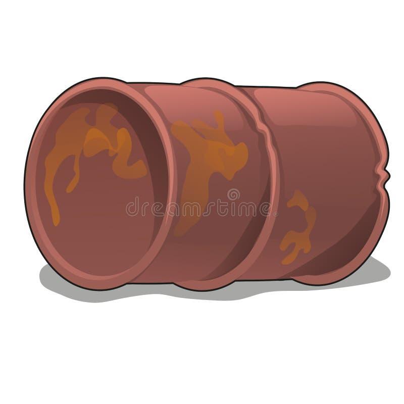 在白色背景隔绝的生锈的金属桶 传染媒介动画片特写镜头例证 皇族释放例证