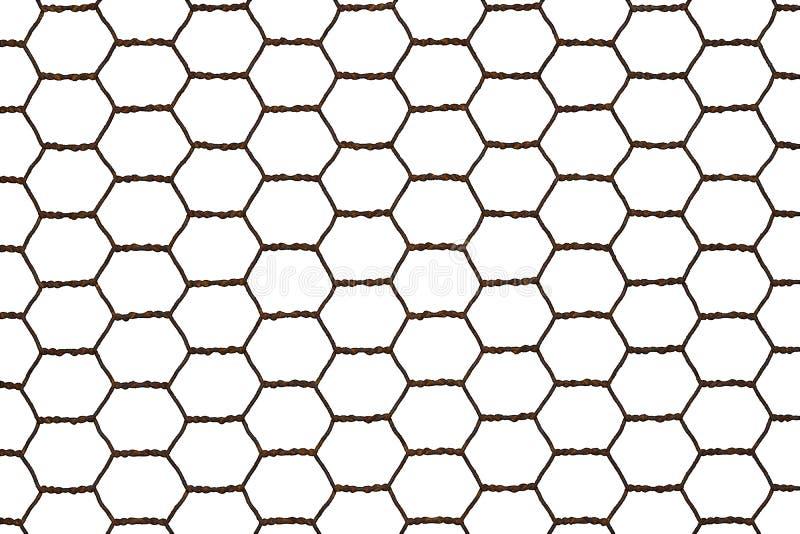 在白色背景隔绝的生锈的钢网状电线网 库存例证