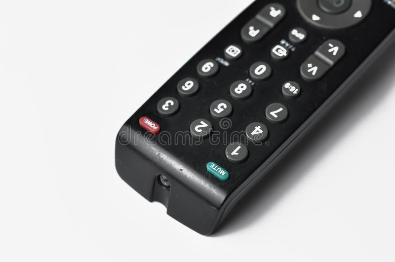 在白色背景隔绝的电视的遥远的控制器 r 库存图片