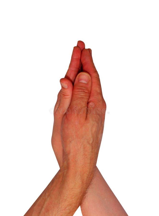 在白色背景隔绝的男人和妇女手,握手和一起走 图库摄影