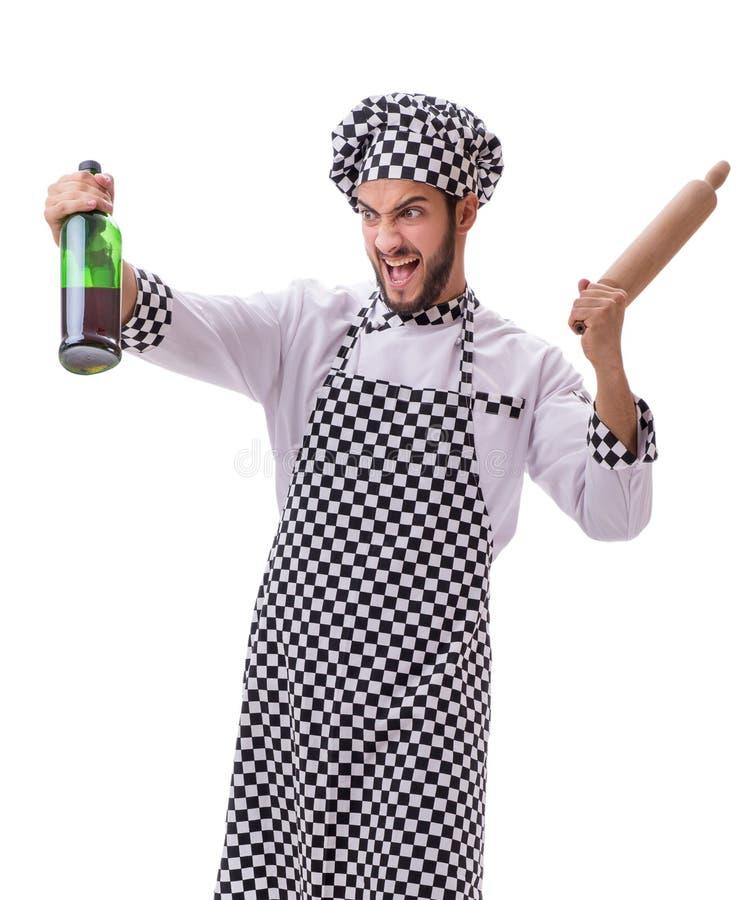 在白色背景隔绝的男性厨师 图库摄影