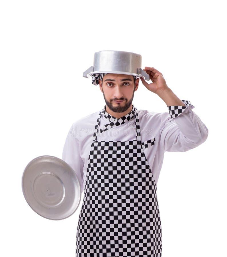 在白色背景隔绝的男性厨师 免版税图库摄影