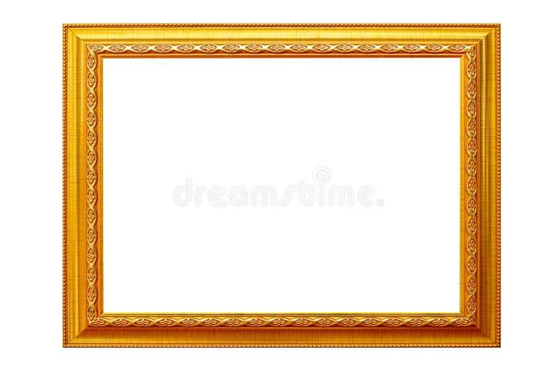 在白色背景隔绝的画框,空的古色古香的金黄框架 免版税图库摄影