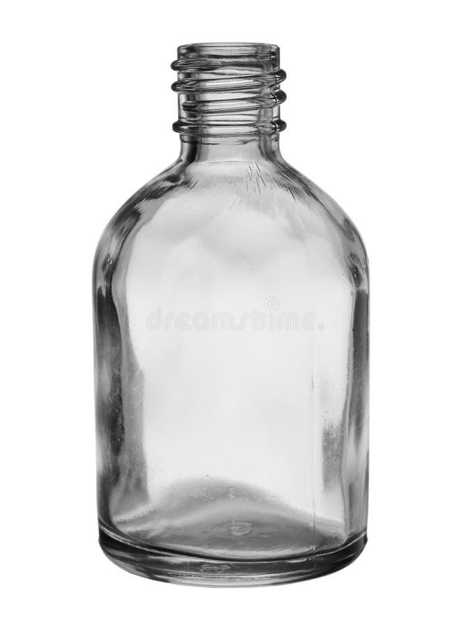 在白色背景隔绝的疗程的空的玻璃小瓶 免版税库存照片