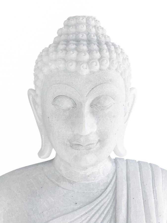 在白色背景隔绝的白石菩萨 免版税库存照片
