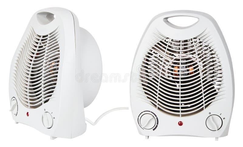 在白色背景隔绝的白色便携式的电暖气 库存图片