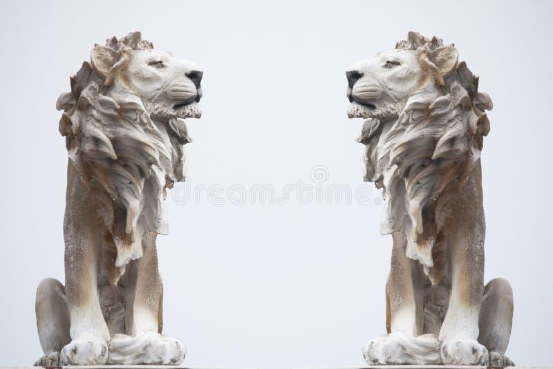 在白色背景隔绝的白色坐的Coade石狮子,穿的强的雕象,领导标志纪念碑古老雕塑  免版税库存照片