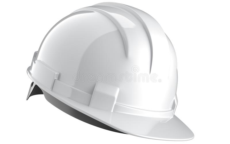 在白色背景隔绝的白色建筑盔甲侧视图  3d工程学帽子翻译  库存图片