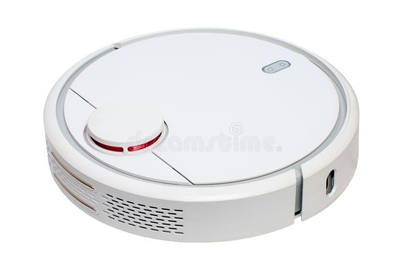 在白色背景隔绝的白色机器人吸尘器 库存照片