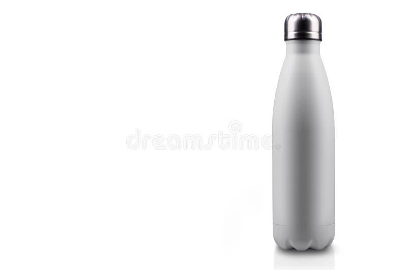 在白色背景隔绝的白表面无光泽,空的不锈的热水瓶特写镜头 背景画笔关闭查出摄影白色的工作室牙 向量例证