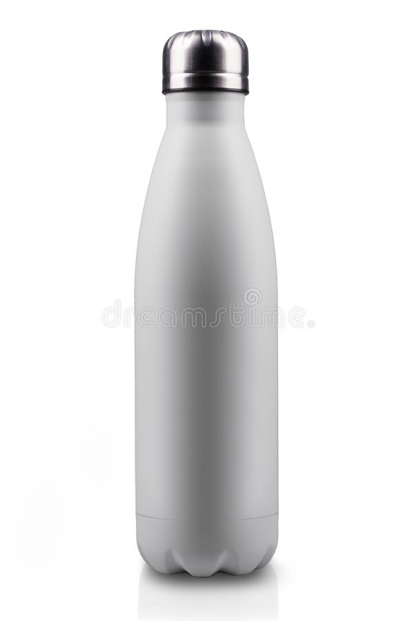 在白色背景隔绝的白表面无光泽,空的不锈的热水瓶特写镜头 背景画笔关闭查出摄影白色的工作室牙 库存例证
