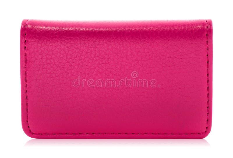 在白色背景隔绝的皮革持卡者 桃红色皮革钱包模板您的设计的 r 库存照片