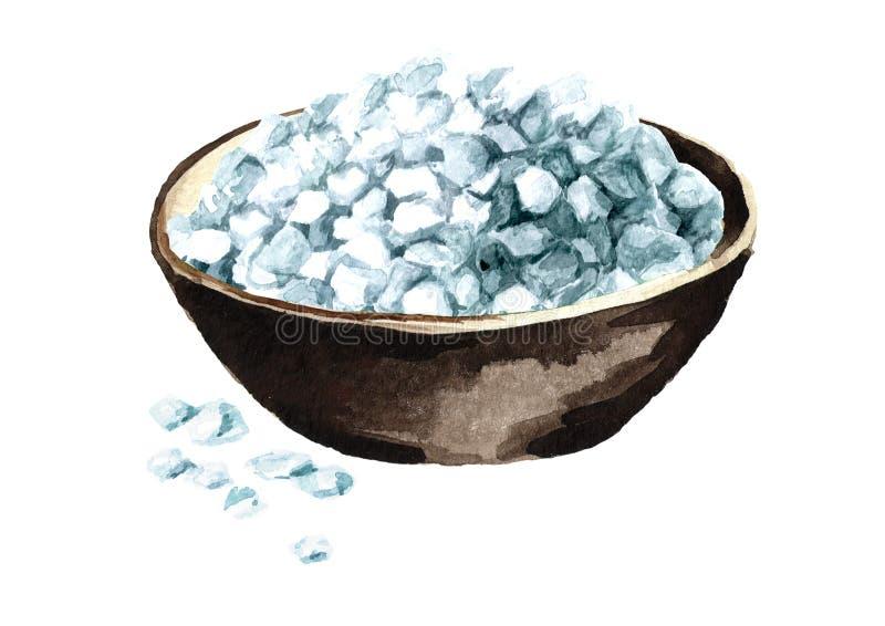 在白色背景隔绝的碗水彩手拉的例证的粗糙的海盐 库存例证