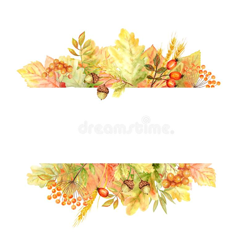 在白色背景隔绝的秋天叶子明亮的框架 水彩秋天叶子手拉的例证 皇族释放例证