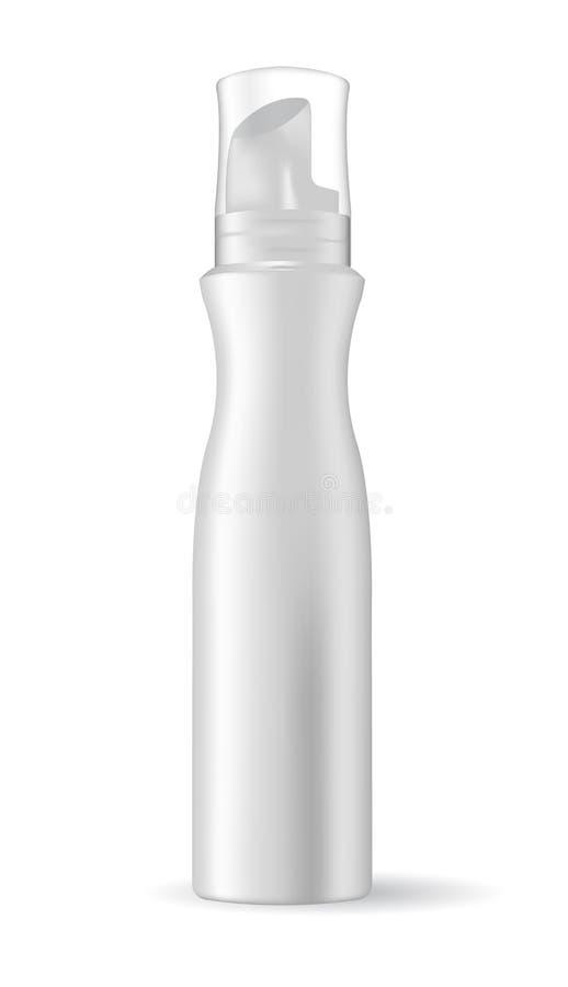 在白色背景隔绝的空白的化妆包裹 泡沫的管听见称呼,发胶 库存例证