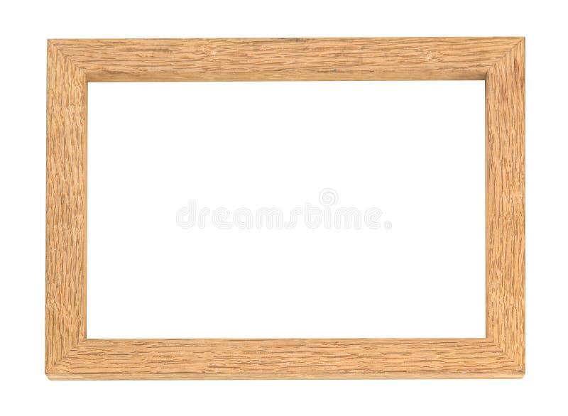 在白色背景隔绝的空白的木照片框架 免版税图库摄影