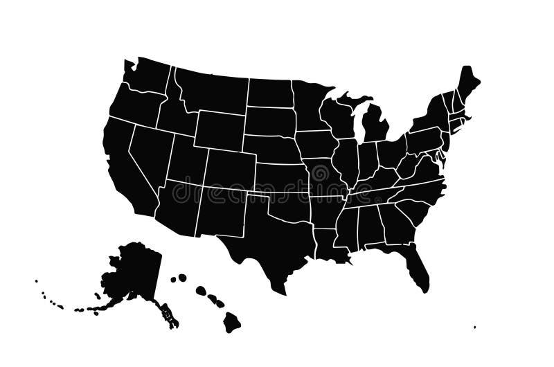 在白色背景隔绝的空白相似的美国地图 美国国家 网站的传染媒介模板 库存例证