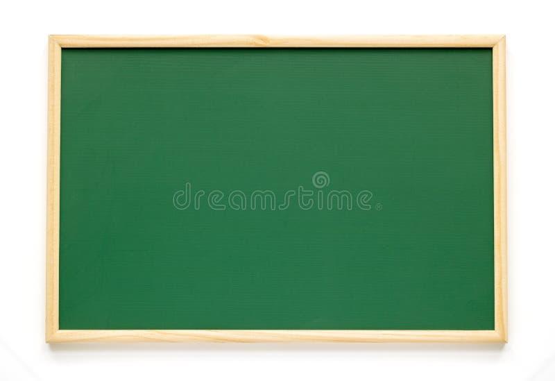 在白色背景隔绝的空的绿色黑板 绿色白垩 库存图片
