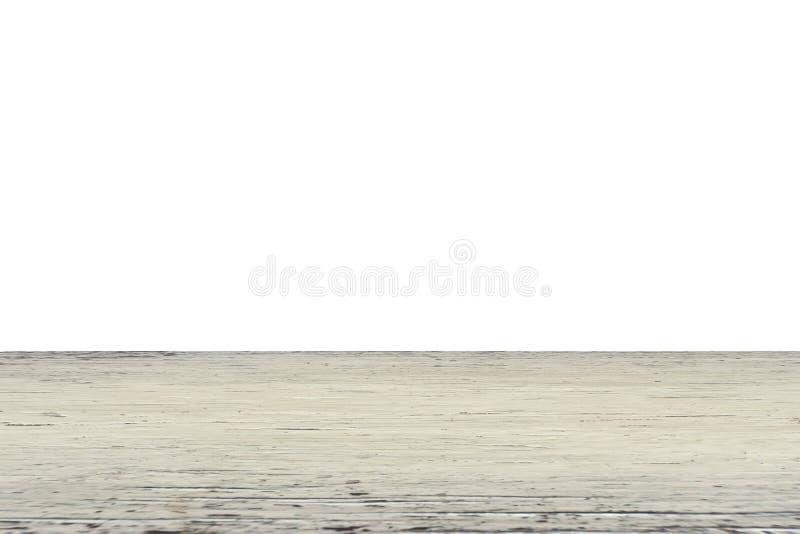 在白色背景隔绝的空的透视图浅褐色的木地板,显示或蒙太奇的您的产品 免版税库存图片