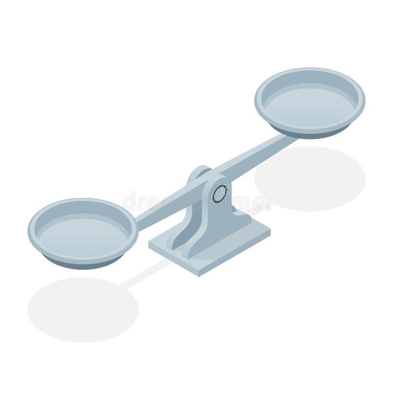 在白色背景隔绝的等量平衡标度 法律和正义的标志 库存例证