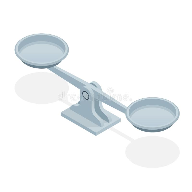在白色背景隔绝的等量平衡标度 法律和正义的标志 向量例证