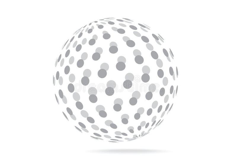 在白色背景隔绝的简单的传染媒介3D球 免版税库存照片